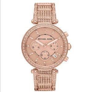 Michael Kors Parker Rose Gold Glitz Chrono Watch